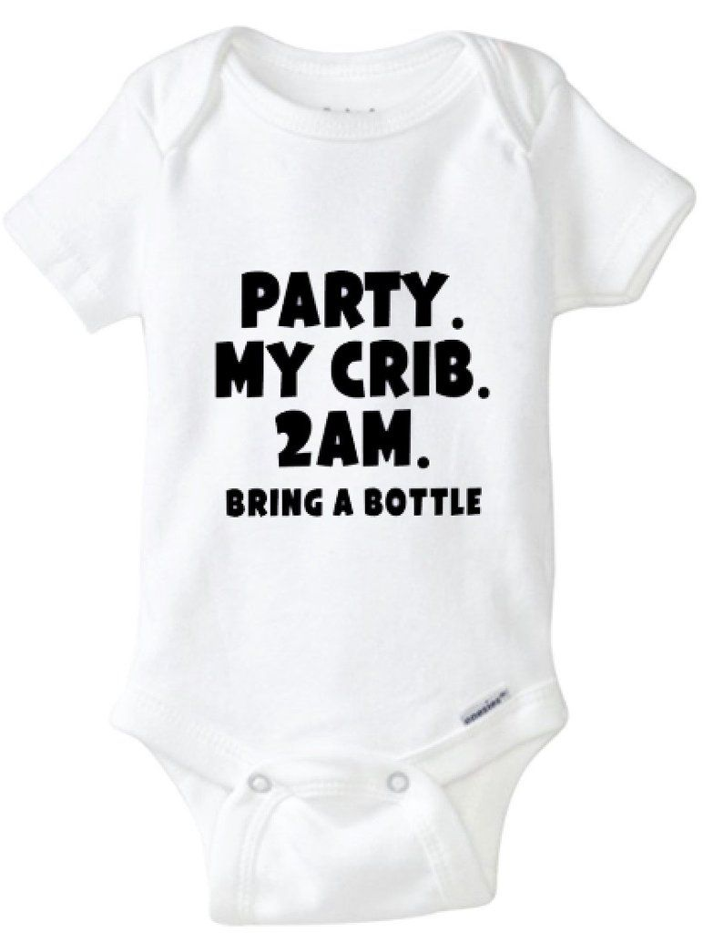 Party in my Crib 2am Bring a Bottle Baby Vest Babygrow Bodysuit Novelty Baby