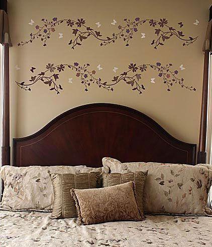 Wildflower Border Stencil Stencils Wall Wall Stencil Living Room Diy Wall Decor