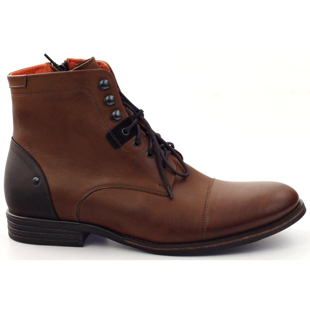 Botki Zimowe Wiazane Pilpol Pc6009 Brazowe Mens Leather Boots Boots Winter Boots