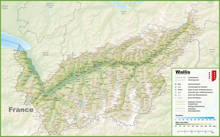 Canton of Valais map with cities and towns Maps Pinterest