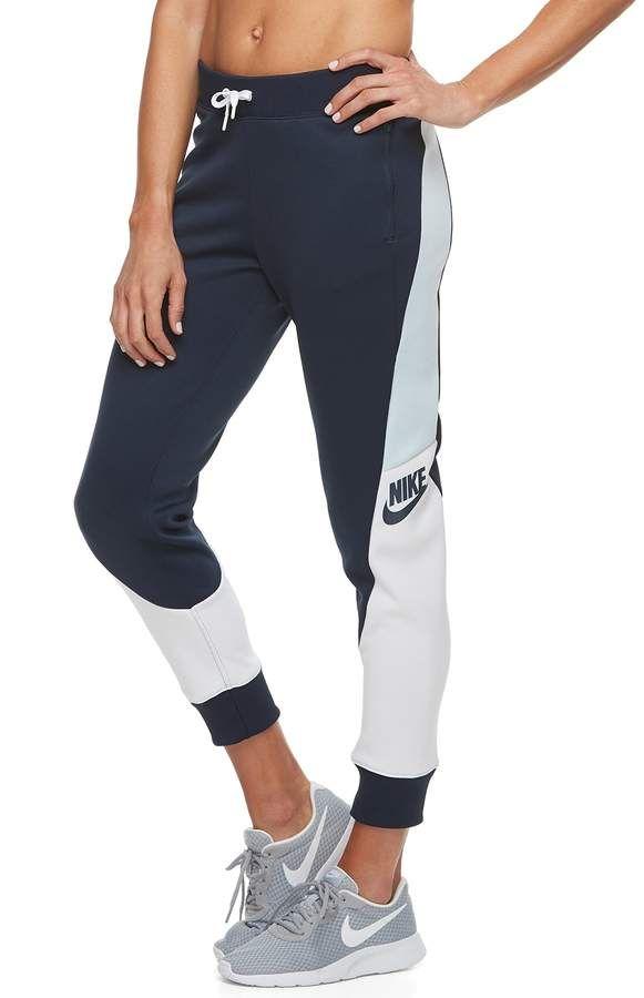 Nike Women s Sportswear Color Block Mid-Rise Jogger Pants  f6d232d8f67