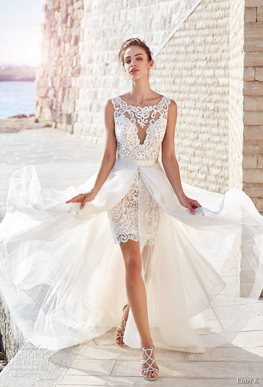 Eddy K 2018 Bridal Sleeveless Bateau Sweetheart Neckline Full Embellishment Glamorous Above The Knee Miniskirt Short Wedding Dress A Line Overskrit