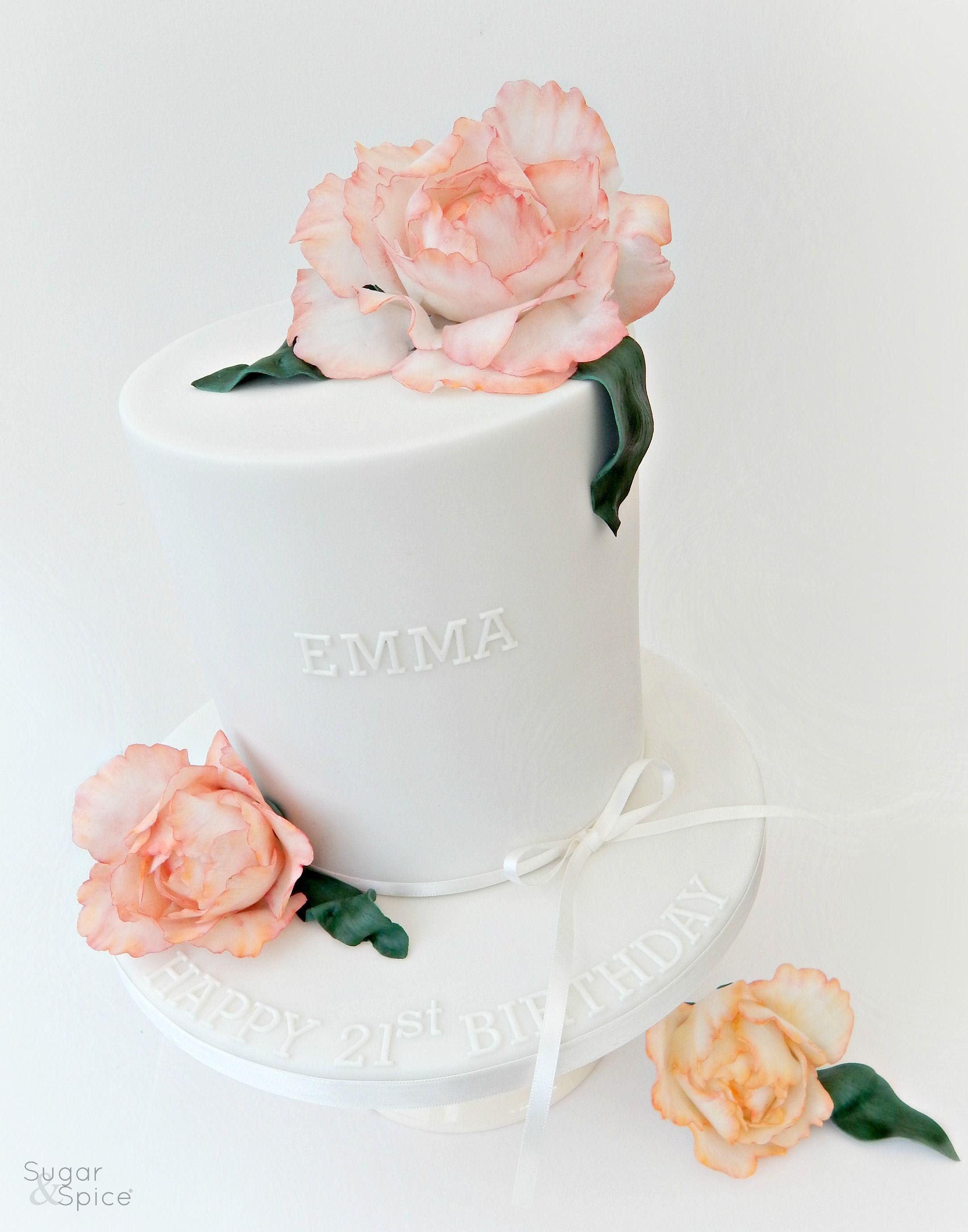 Peony cake white cake gumpaste peony peony cake topper 21st
