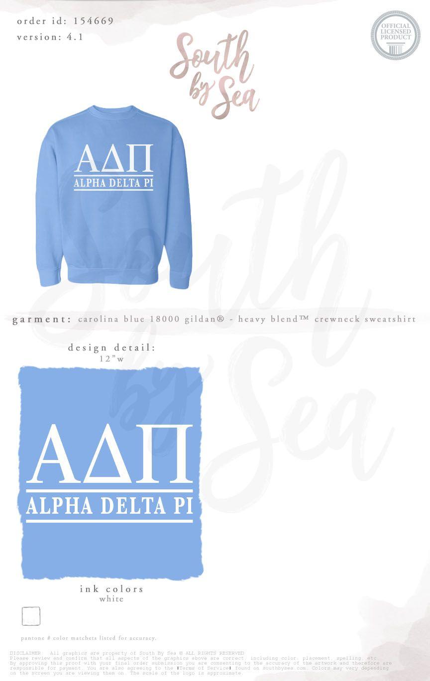 Alpha Delta Pi Adpi Block Letters Sweatshirt Sisterhood Bid Day Recruitment South Sorority Shirt Designs Sorority Sweatshirts Sorority Tee Shirts [ 1368 x 864 Pixel ]