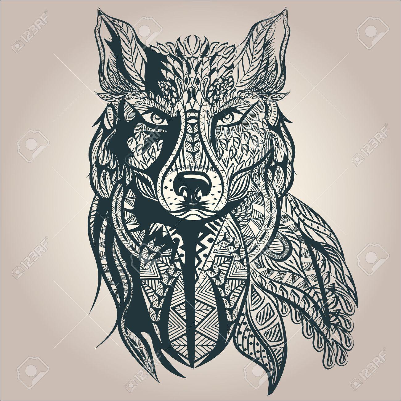 Ornamental Vintage Wolf Predator Black And White Tattoo Decorative Animal Tattoos Geometric Wolf Tattoo Wolf Tattoo Design