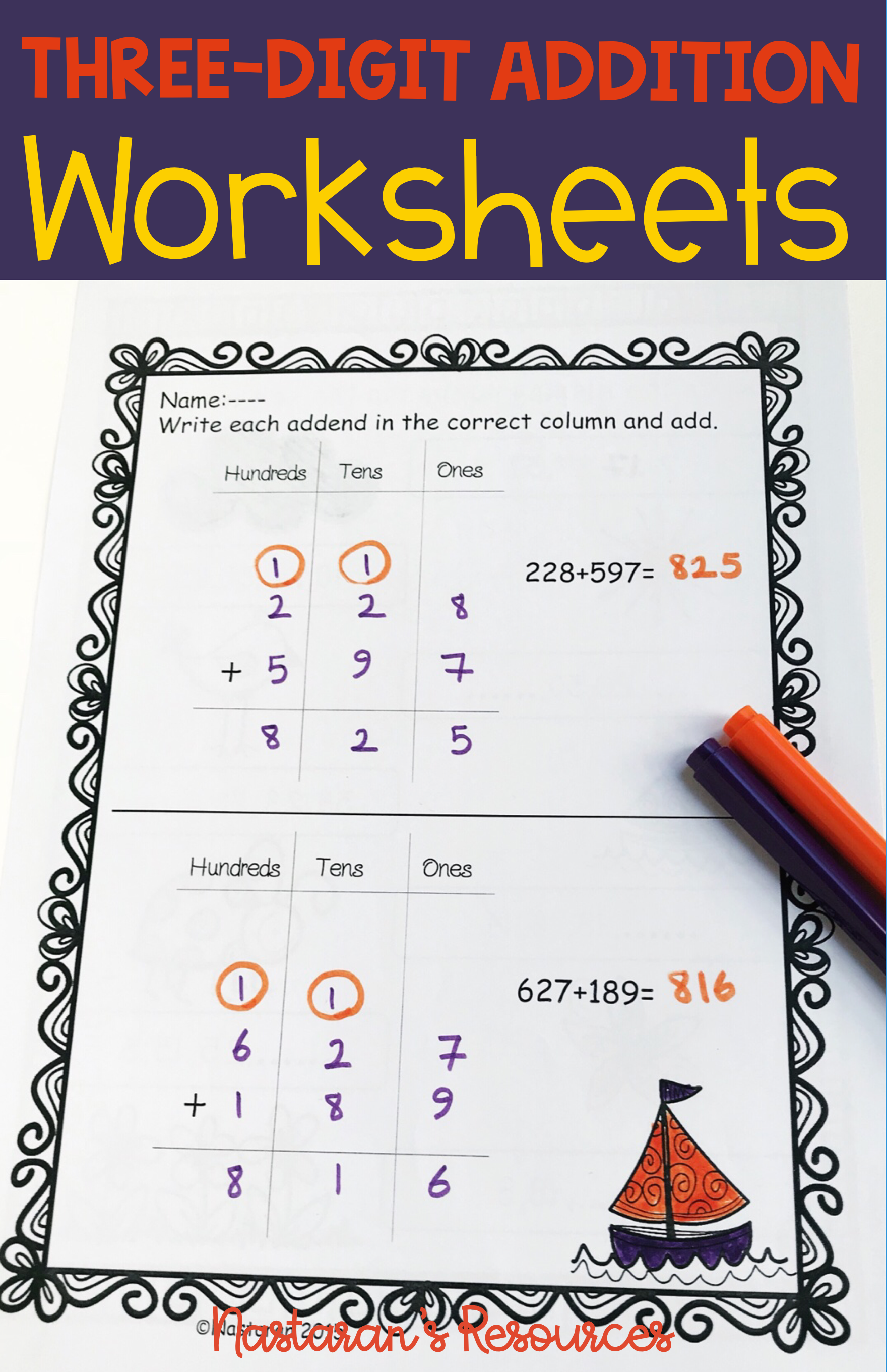 3 Digit Addition With Regrouping Rfect For 2nd Grade And