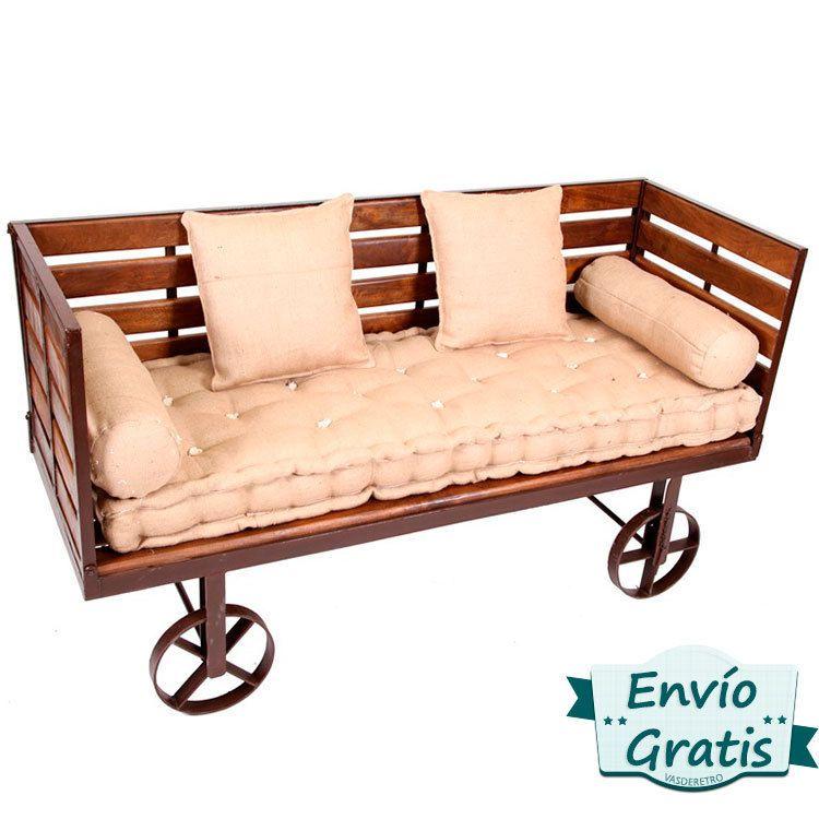 Sofa industrial hierro y madera country decoracion hogar for Sofa exterior hierro