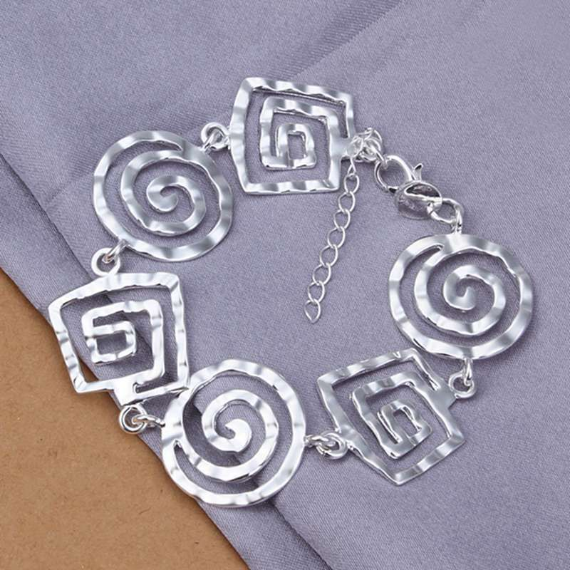 Fashion 925Sterling Solid Silver Jewelry Square Chain Bracelet For Women H204