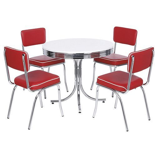 Rydell Dining Table And 4 Chair Set Red