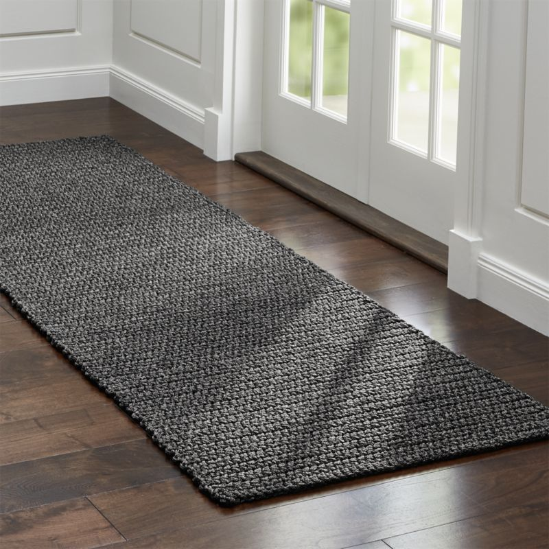 Salome Charcoal Grey Indoor Outdoor Rug Runner Constructed By Skilled S In India