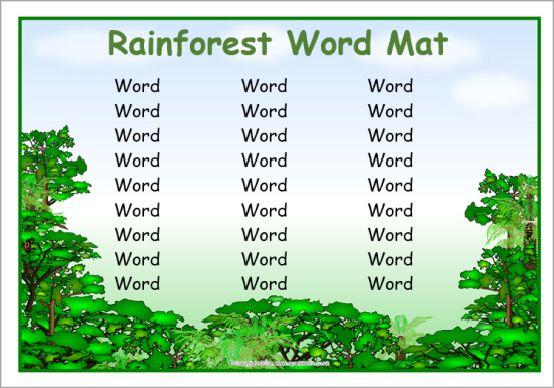 Editable rainforest word mat template (SB10834) - SparkleBox Paper