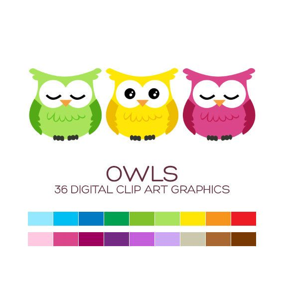 Owl Clipart Digital Clip Art Baby Party Decoration Shower Girl