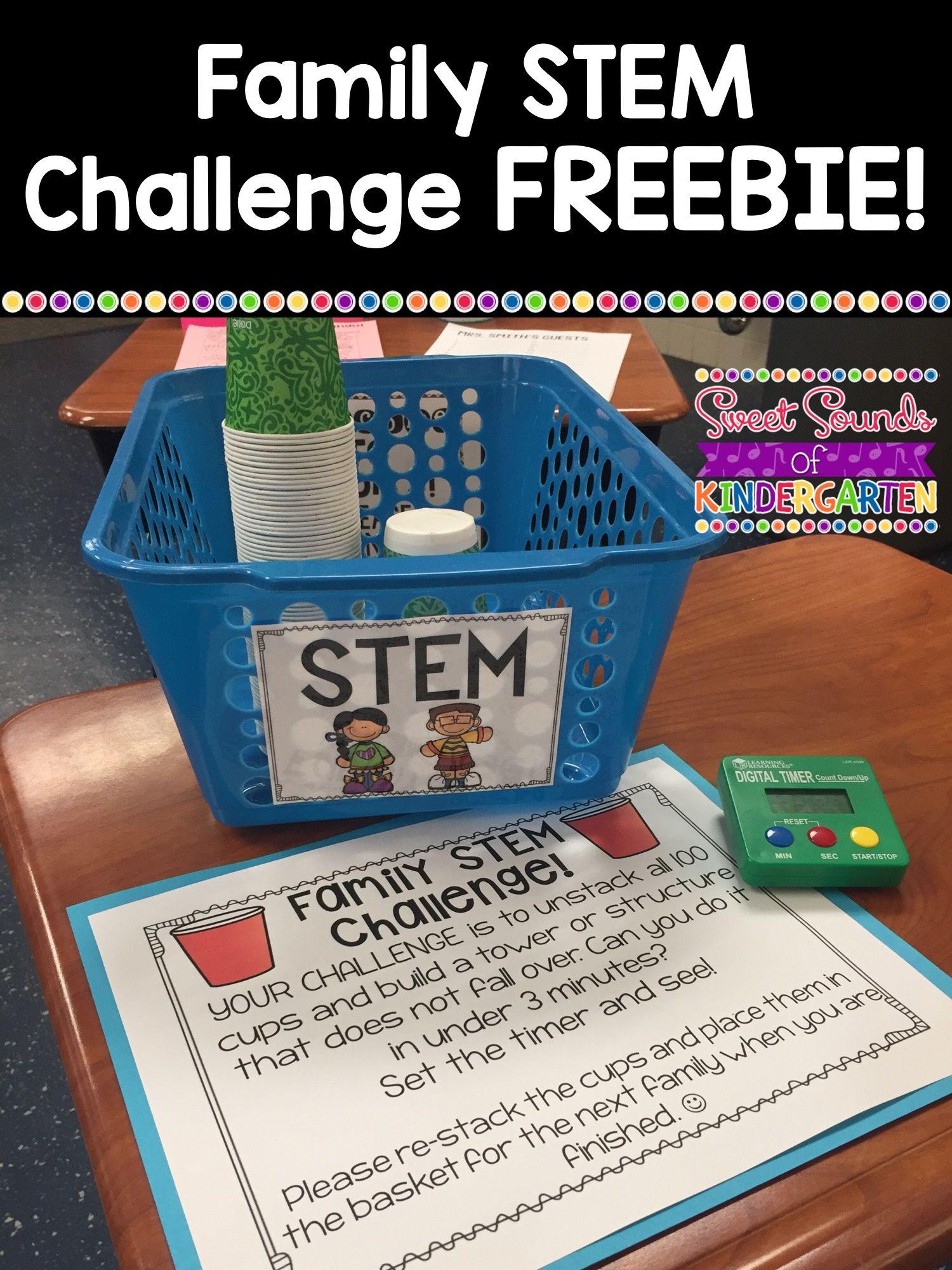 Family STEM Challenge {FREEBIE!} | Sweet Sounds of Kindergarten