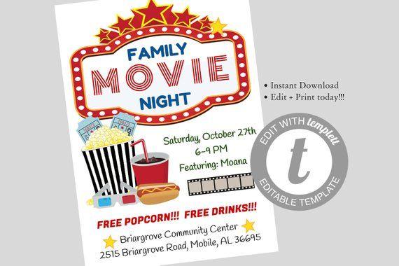Family Movie Night Flyer Editable Template Movie Night