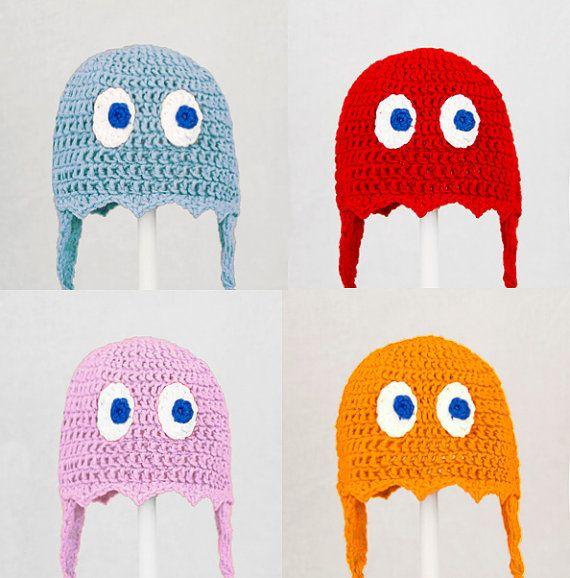 Pacman Ghost Hat in Blue Red Pink or Orange Crochet by GeekinOut ...