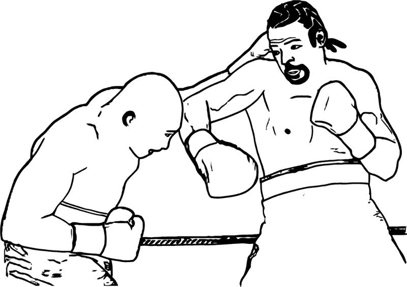 boxing coloring pages - two man fight boxing coloring page boxing day
