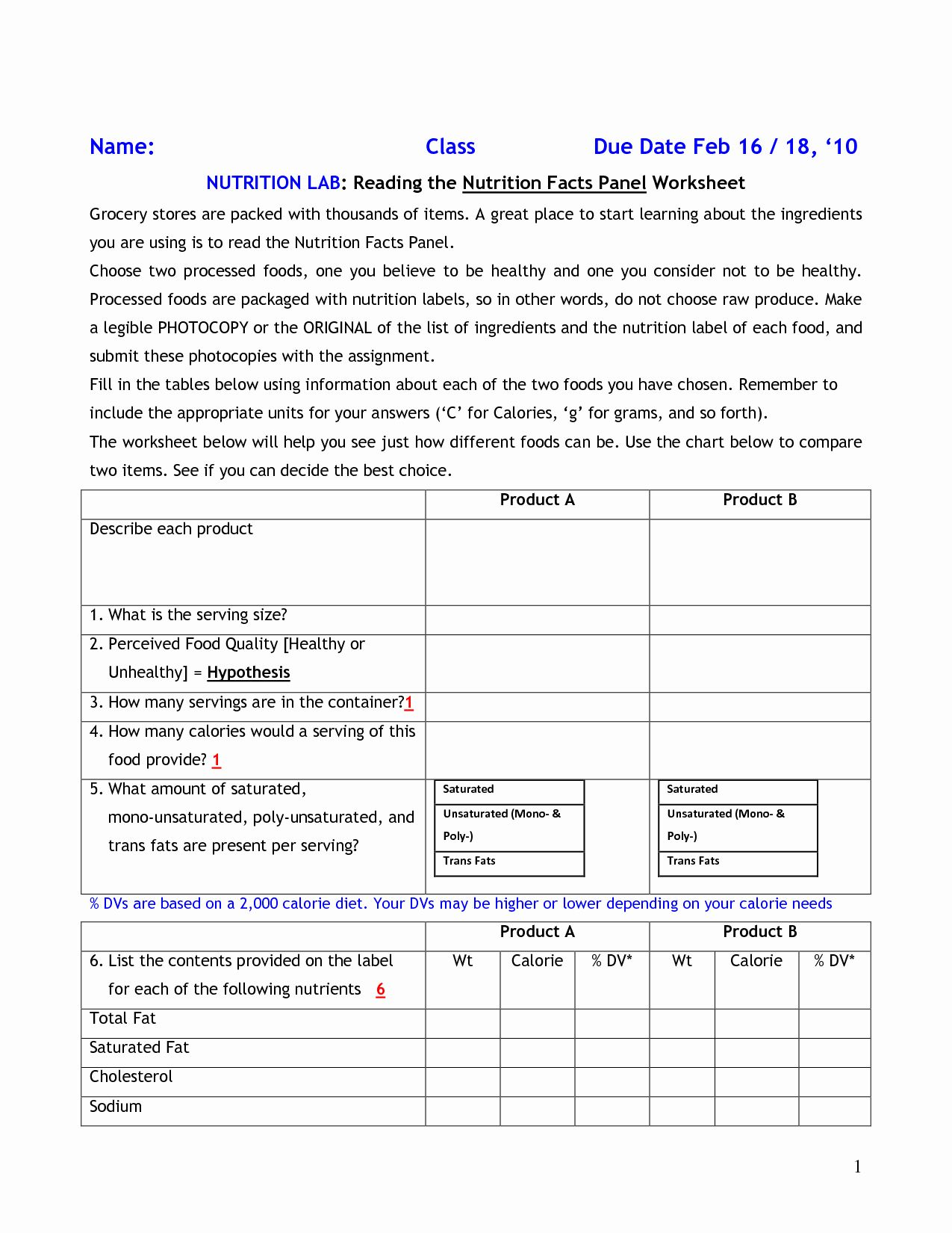 Nutrition Label Worksheet Answers Awesome 15 Best Of Food