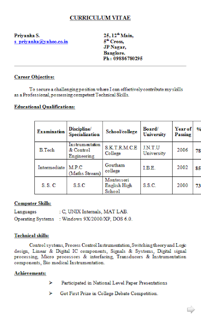 Resume Format Download In Word Document Curriculum Vitae Profile Examples Free Download Sample Template .