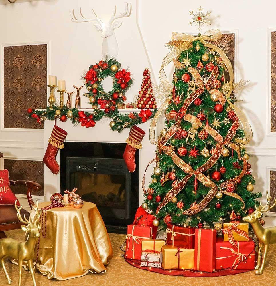 Aufhänger Für Christbaumkugeln.Valery Madelyn 20 Stücke 6cm Weihnachtskugeln Kunststoff Rot Gold