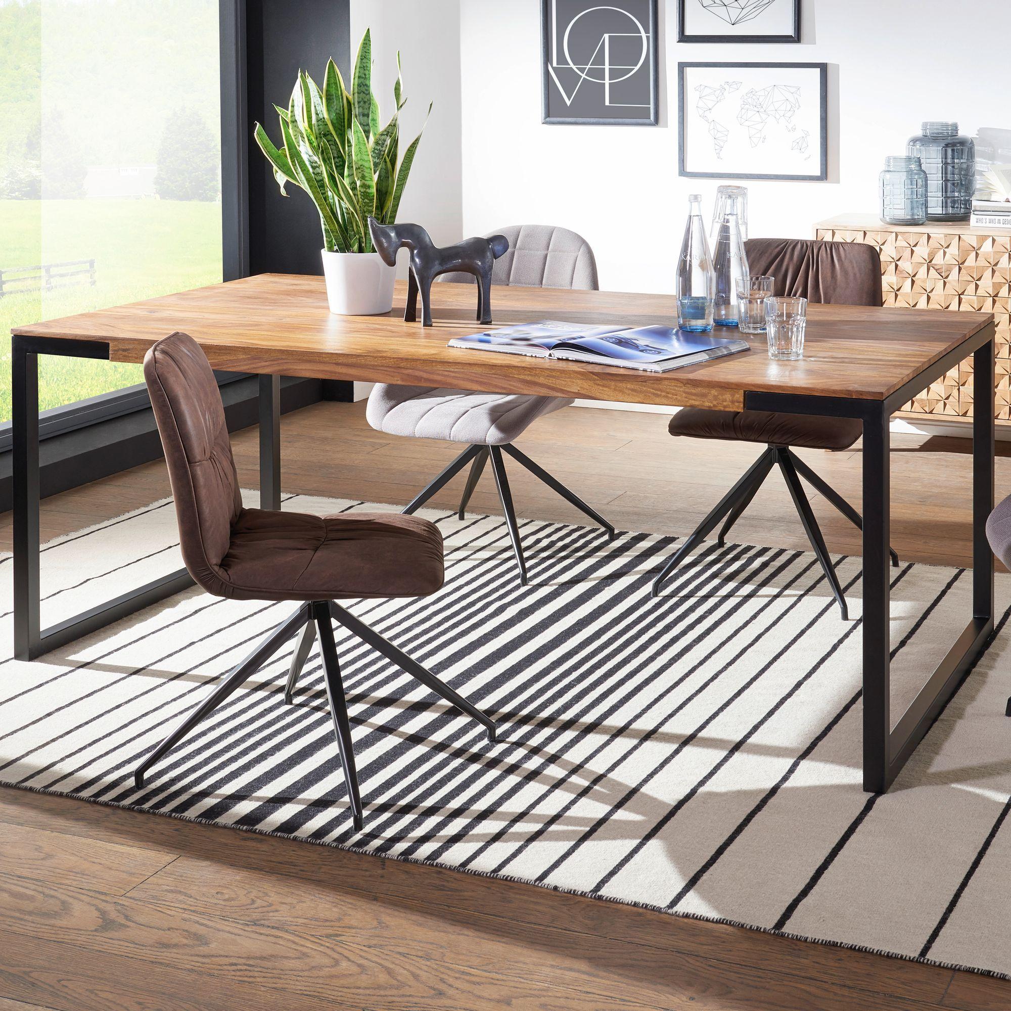 Finebuy Esstisch Sheesham Holztisch Esszimmertisch Tisch Mit Metallgestell Solid Wood Dining Table Dining Table Coffee Table