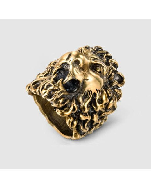 428a75c84c7 Gucci Lion Head Ring in Gold for Men (aged gold finish)