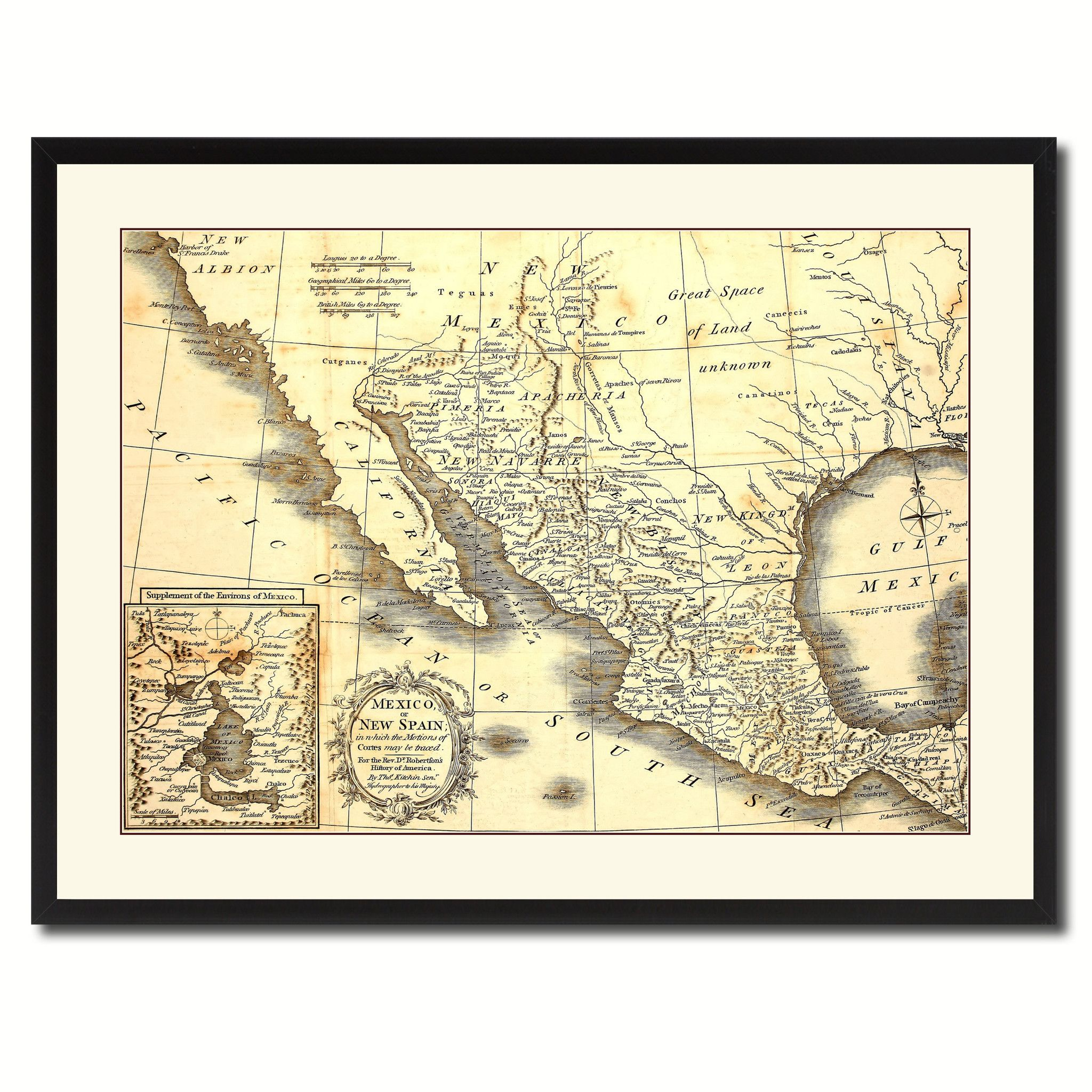 Mexico Vintage Antique Map Wall Art Home Decor Gift Ideas Canvas ...