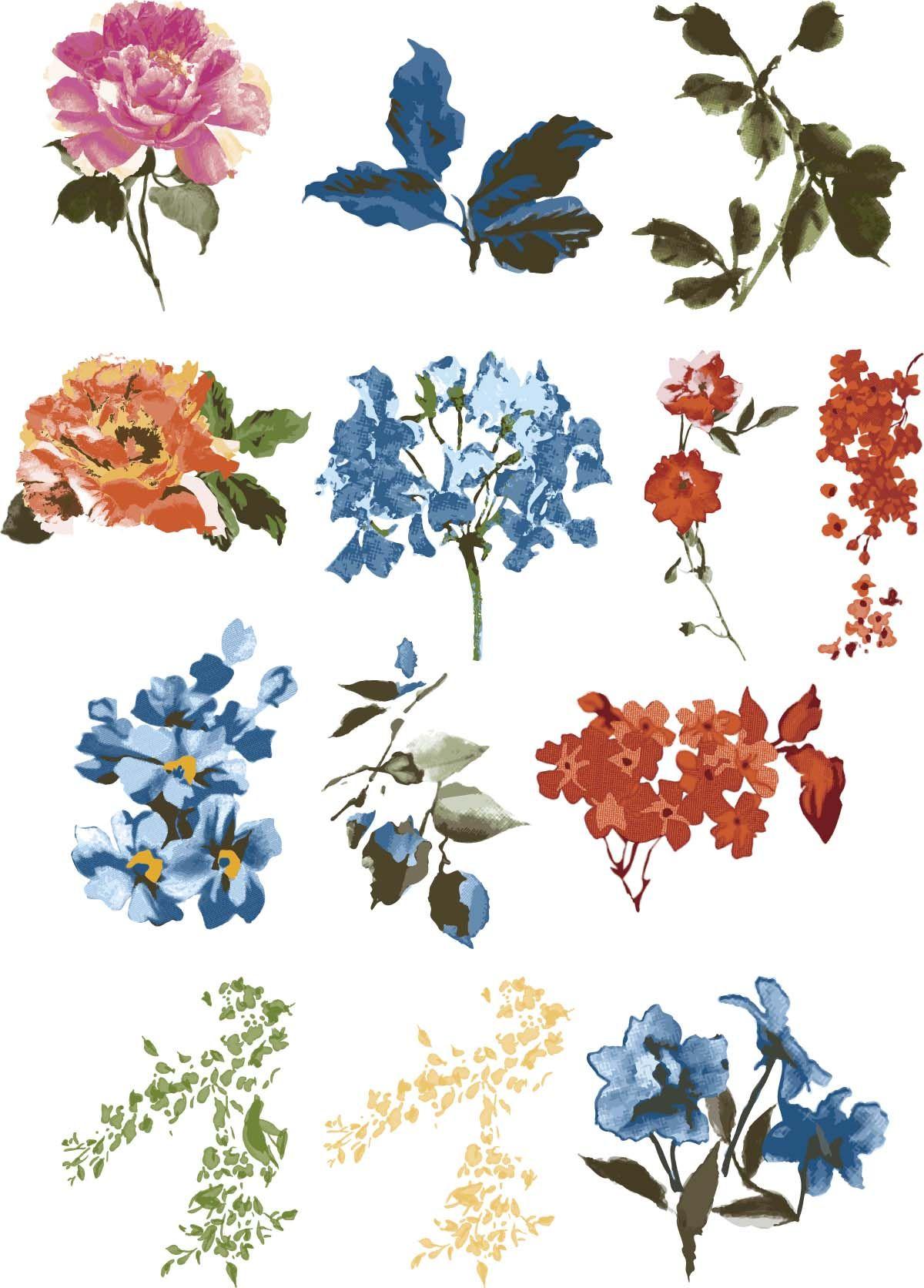 Vintage Floral Design Elements Vector Collection Free Download Flower Painting Vintage Floral Vintage Floral Design