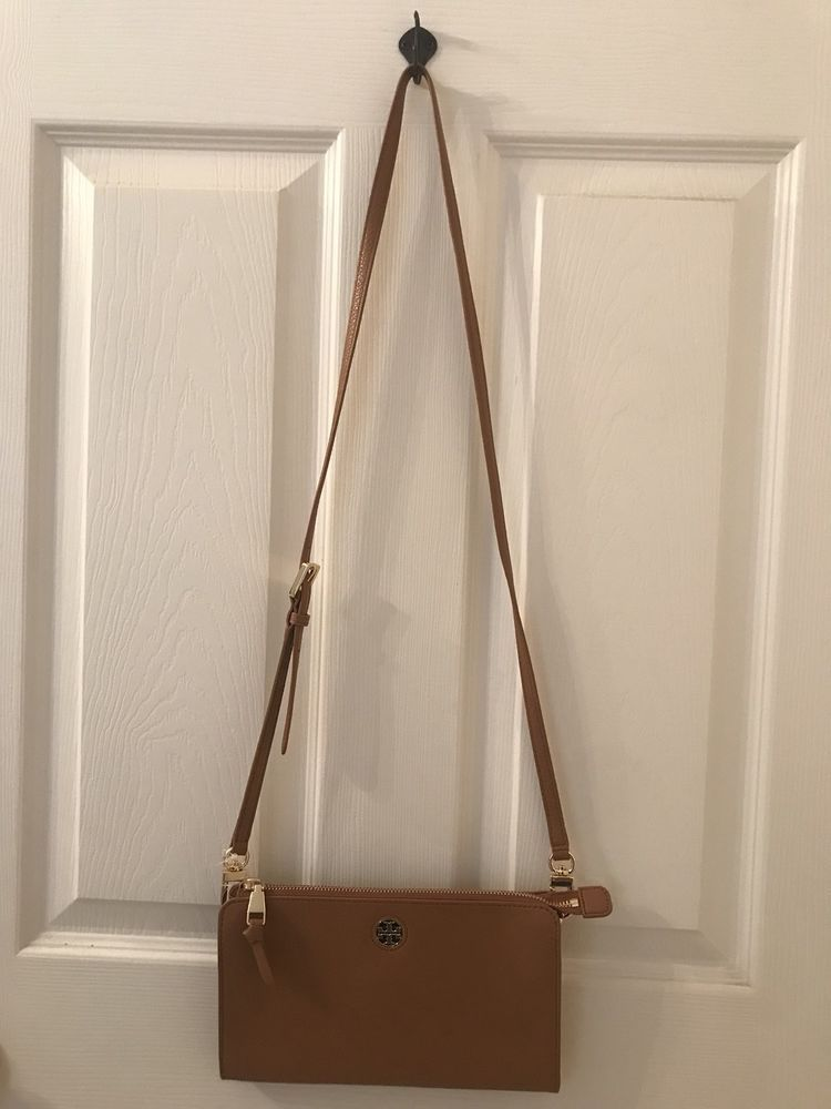 194cef796d5d Authentic TORY BURCH BRODY Pebble LEATHER WALLET CROSSBODY-Bark-Retail   225-NWT