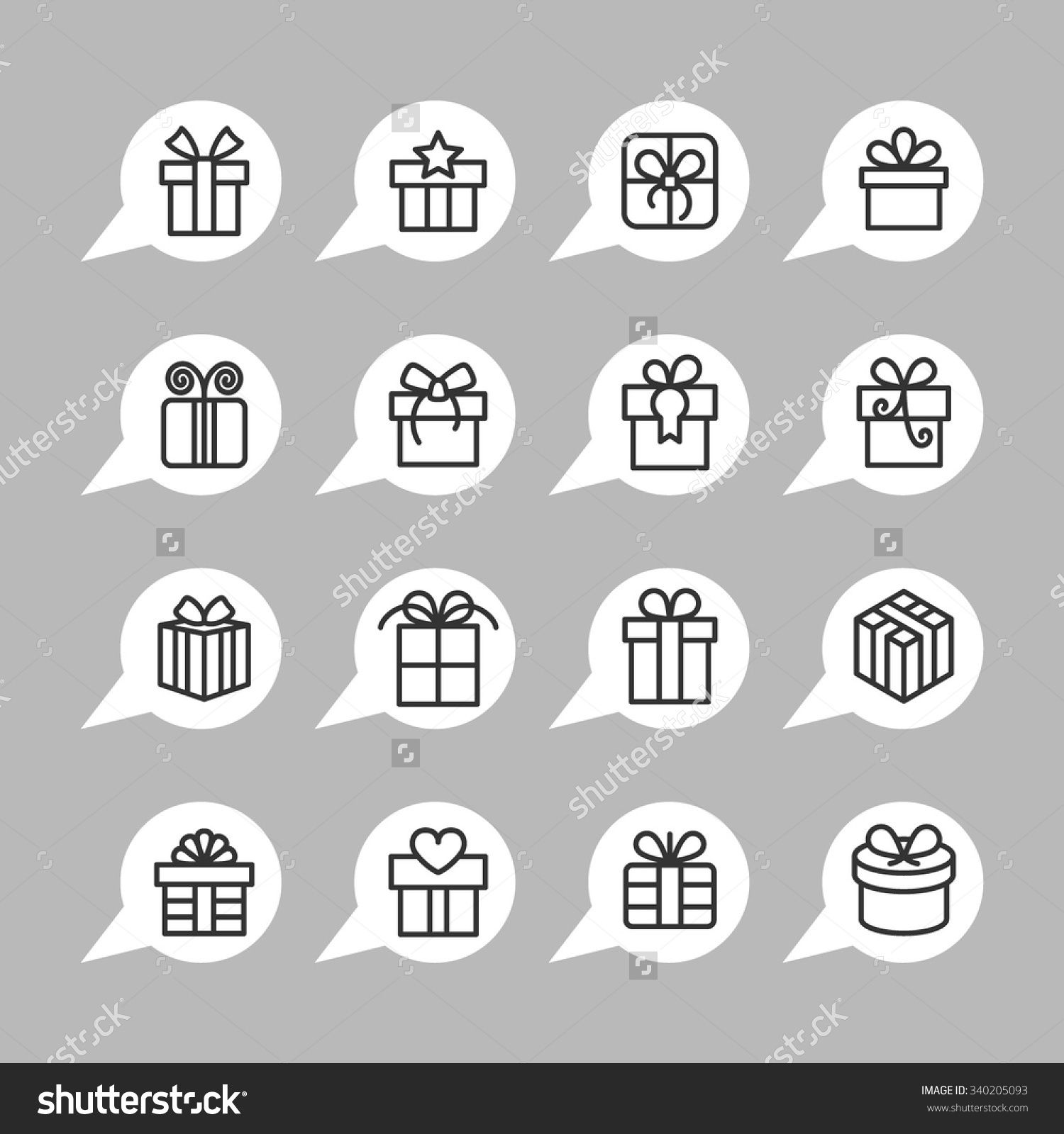 Present icons / Gift icons / Gift box icons / Christmas
