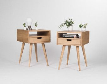Captivating Mid Century Modern Nightstand, Bedside Table, End Table With Solid Oak Wood  Drawer