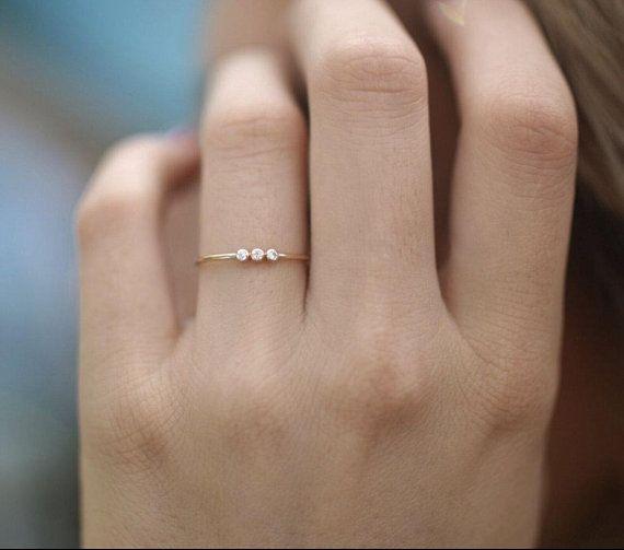 14k Diamant Ehering, Diamant-Verlobungsring-Band, minimalistischer Diamant-Ring in 14k Gold, ...
