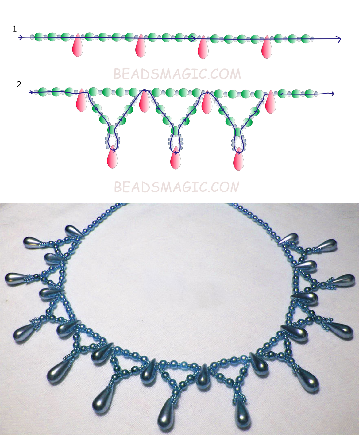 Free pattern for necklace Tahoe | Perlen, Schmuck und Perlenkunst