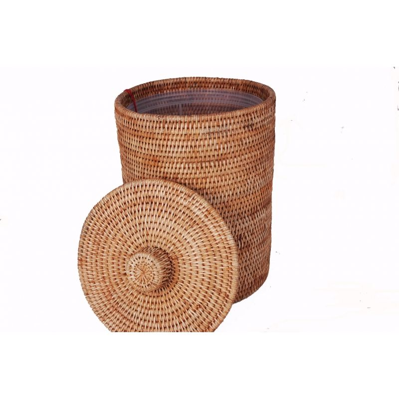 Honey Rattan Waste Paper Bin With Lid Liner Perfect For Cloak Rooms And Bath Must Have Bins