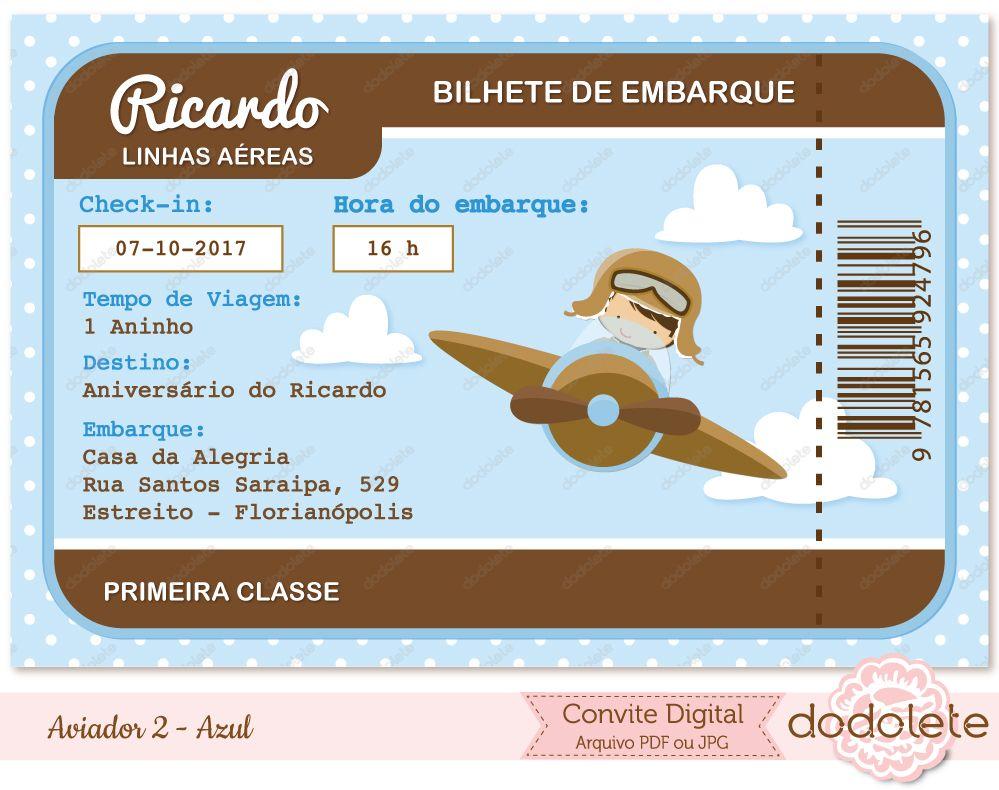 Convite Digital Aviador 2 - Azul   Aviador Urso Aviador   Pinterest ... 3b3d4691ad