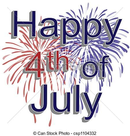 Stock Illustration - Happy 4th of July Fireworks - stock ...