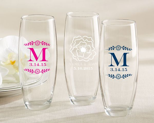91245e67a5dd With Kate Aspen's botanical personalized stemless champagne glasses, your  guests will get a beautiful custom favor that features your monogram ...