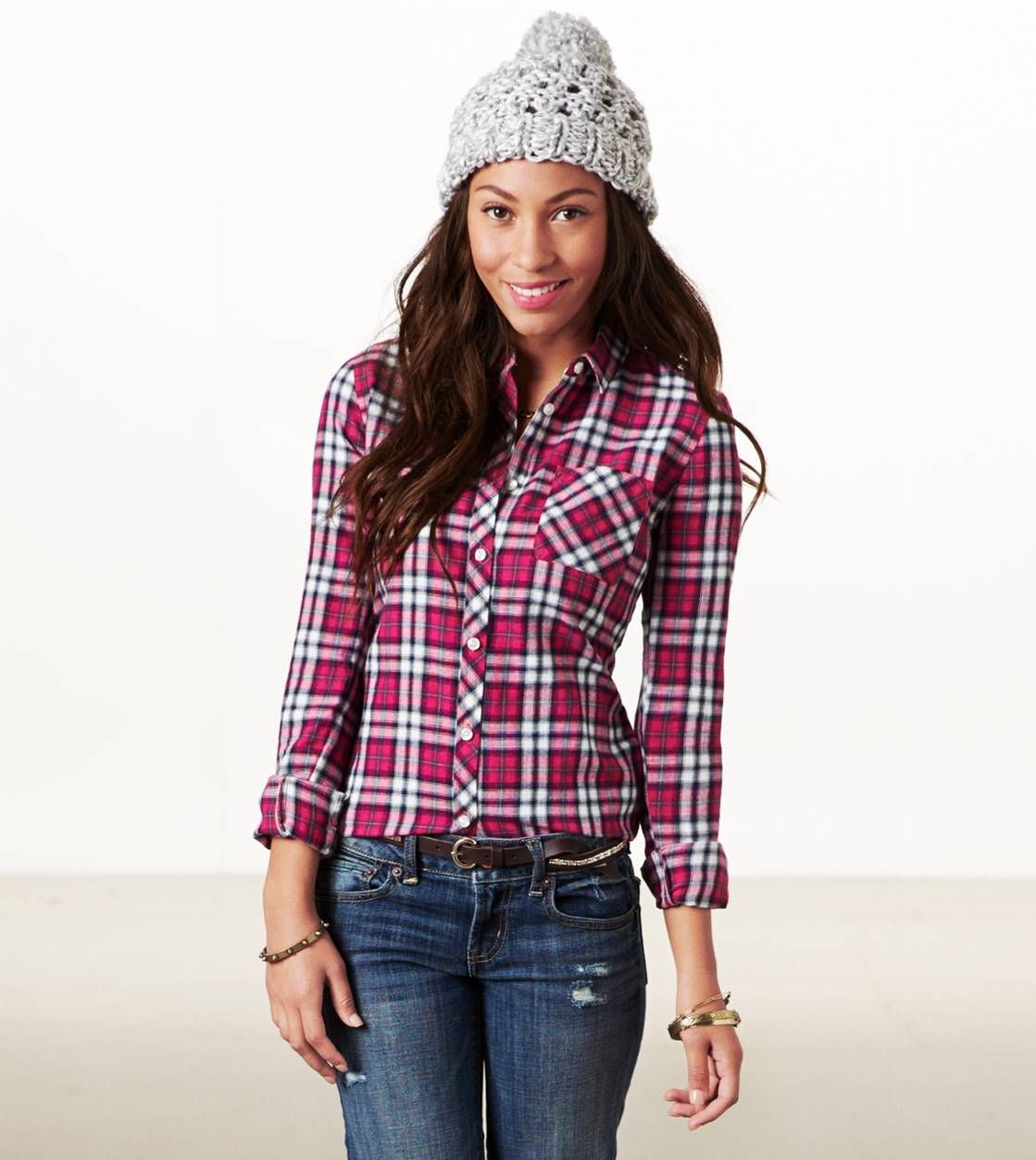 Navy blue flannel shirt womens  American Eagle Real Soft Heritage Plaid Shirt pink or burgundy ihave