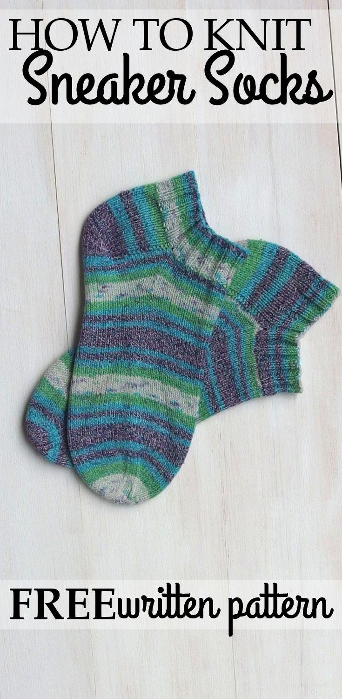 Free written pattern on how to knit sneaker socks for summer, spring ...