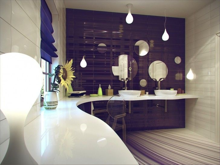 Purple white ceramic bathroom tile with natural lighting 9 interesting bathroom design ideas for small spaces