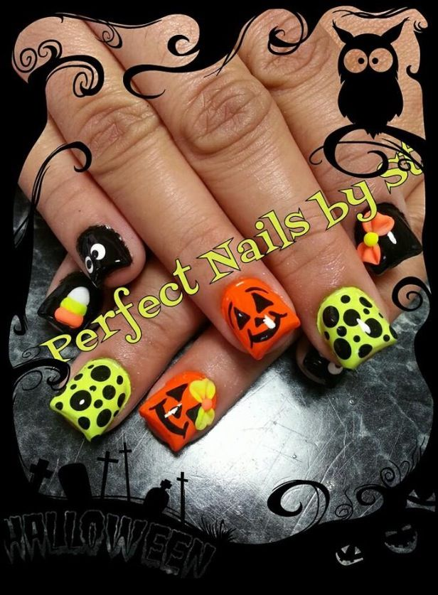Halloween-themed acrylic nails | Festival nails, Cool nail ...