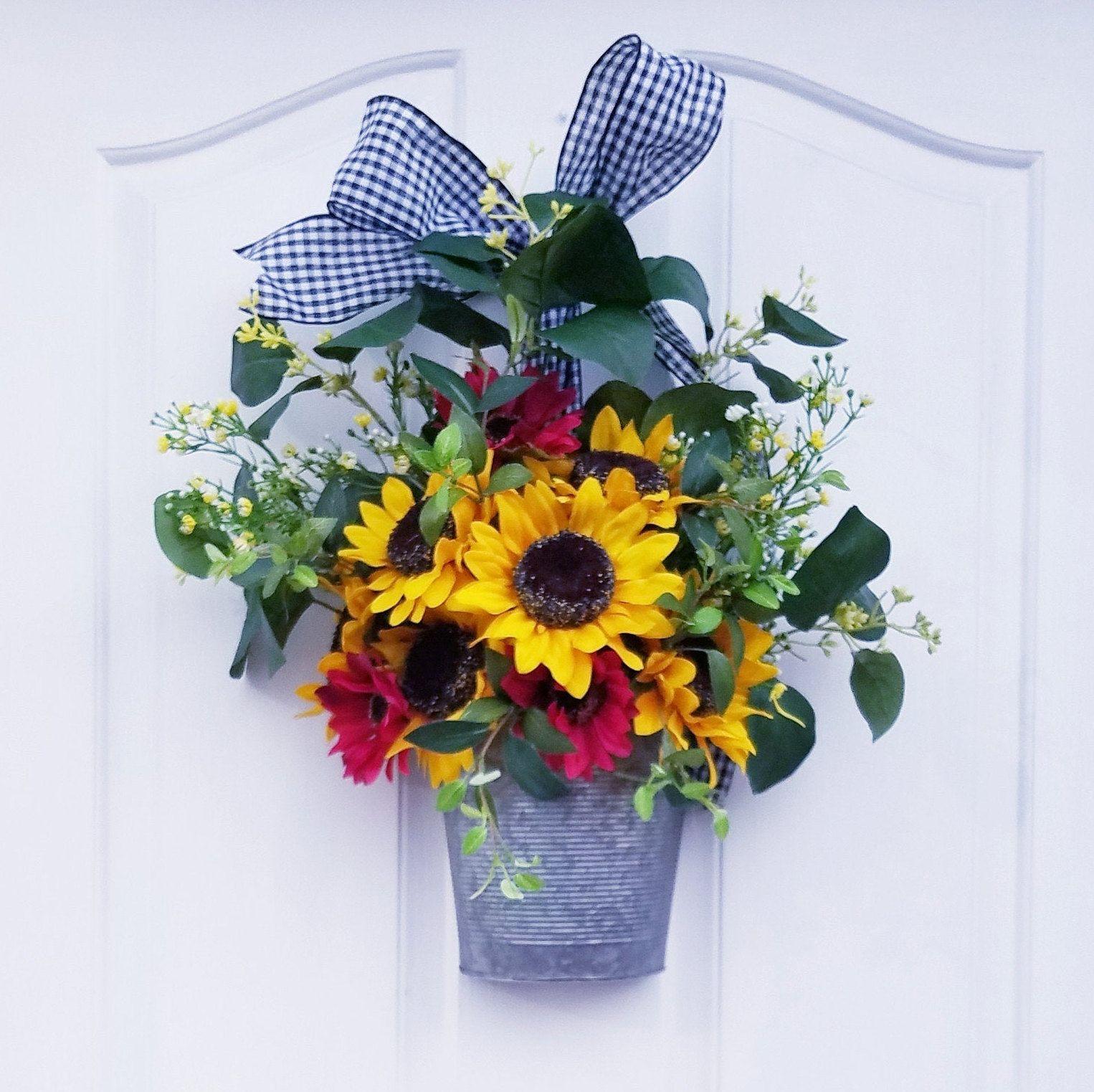 Photo of Sunflower wreath for front door, gift for mom, summer door hanger