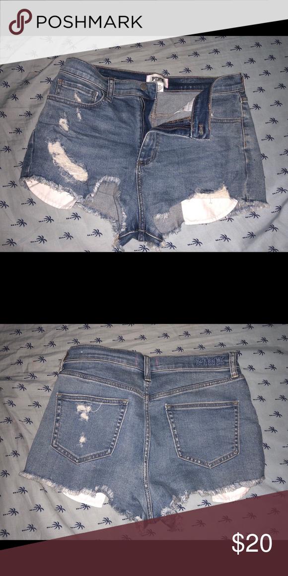 de2d964d1af5b Victoria Secret Pink High Waist Distressed Shorts Rare! High waist ...