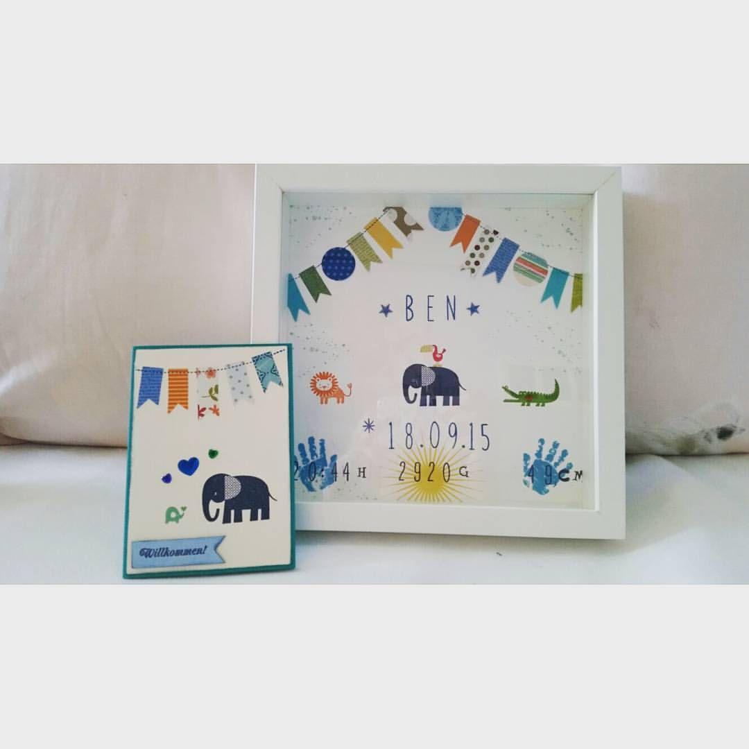 #Geburtsbilderrahmen als #auftragsarbeit für einen neuen #erdenbürger mit passender #glückwunschkarte  #madebypünktchen #handmade #handmadeforyou #ben #scrappen #scrapbooking #stampinup #stempeln #basteln #geburtsgeschenk #geschenkzurgeburt