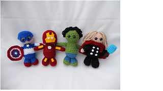 Assemble your own set of Avengers, literally! This group can take on any evil supervillain. This pattern includes Iron Man with helmet, Hulk, Thor with hammer and cloak and Captain America with helmet and shield. Pattern also includes a foe for your Avengers to battle - Loki