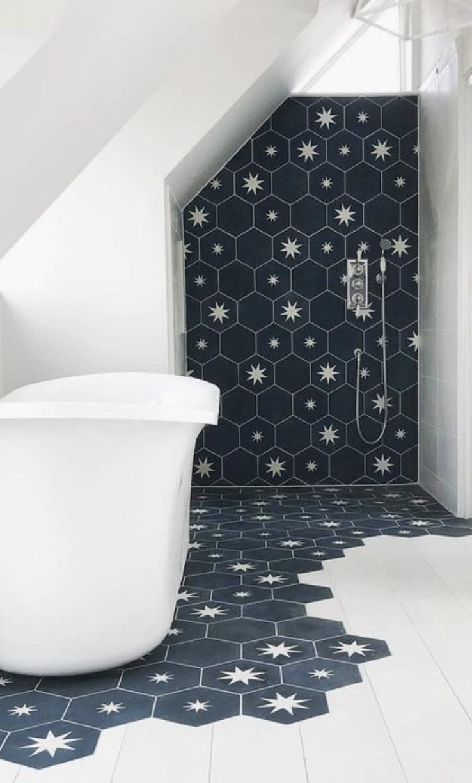 Star Bathroom Decor: Star Hexagon Bath Tiles For Shower