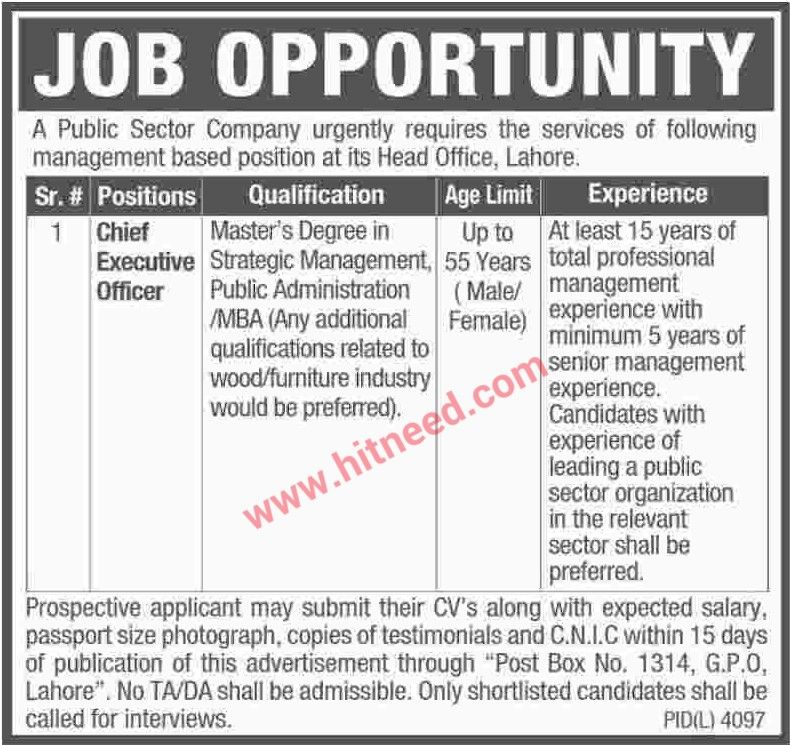 Public Sector Company, Chief Executive Officer Jobs, May 2017 Last