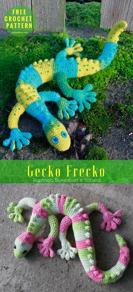 Gecko Frecko Free Crochet Pattern My Hobby Häkeln