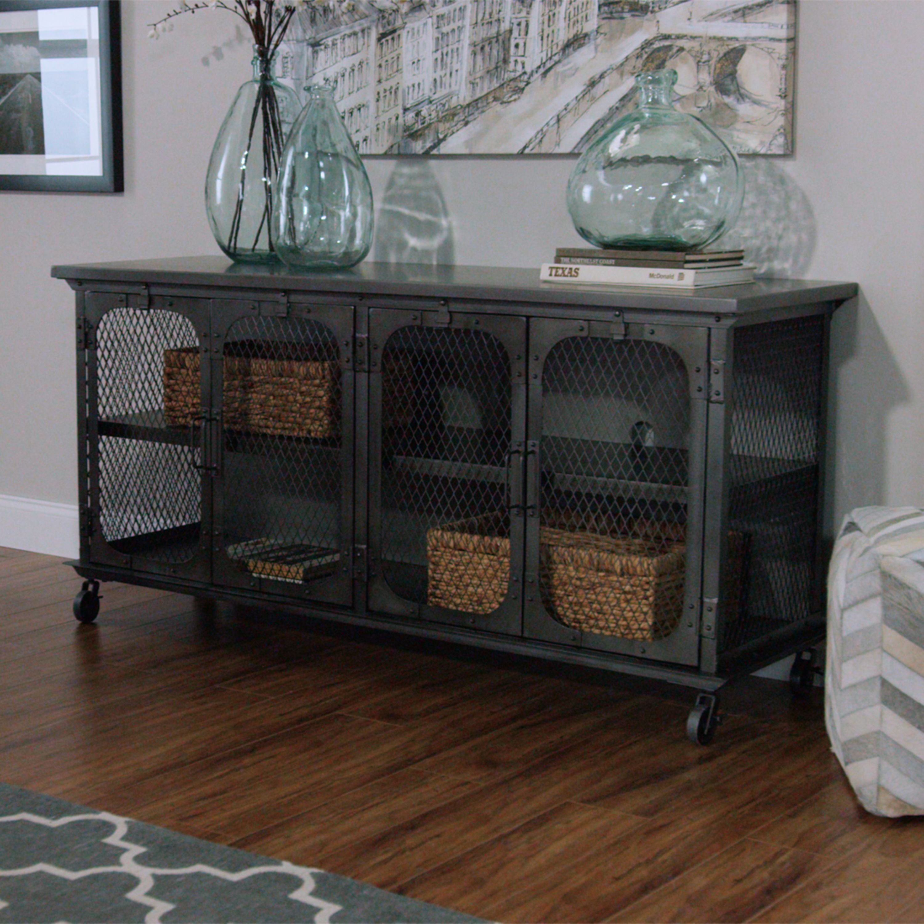 Exuding an industrial appeal our tv stand features an all