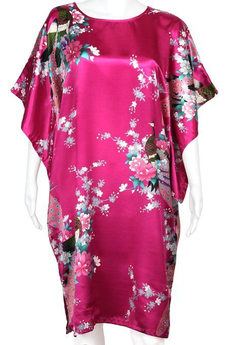 341a78dd0d Amazon.com  Womens Oriental Peacock - Silky Satin - Chemsie Shirt Night Gown  - White - One Size  Clothing