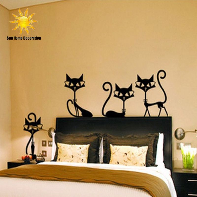 Wall Art For Garden Rooms : Black fashion wall stickers cat living room